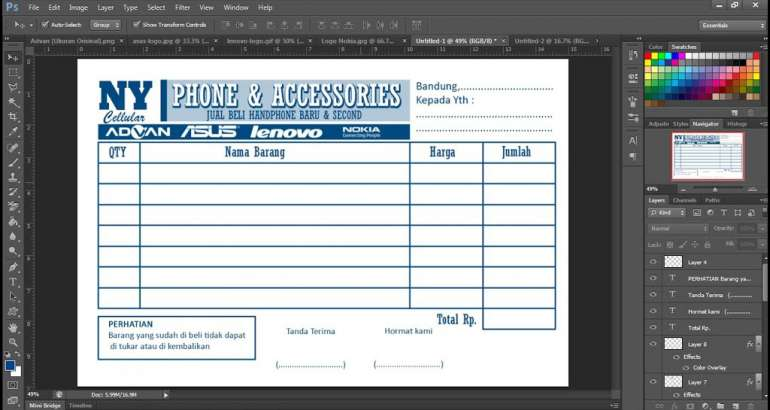 Langkah-Langkah Mudah Membuat Nota Dengan Adobe Photoshop
