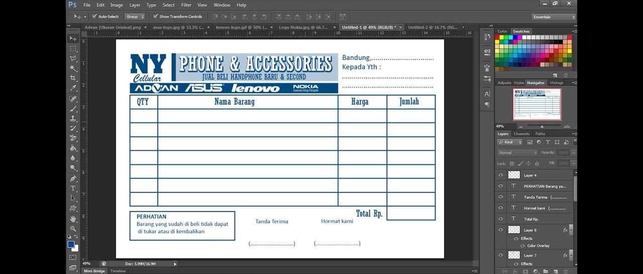 Langkah Langkah Mudah Membuat Nota Dengan Adobe Photoshop