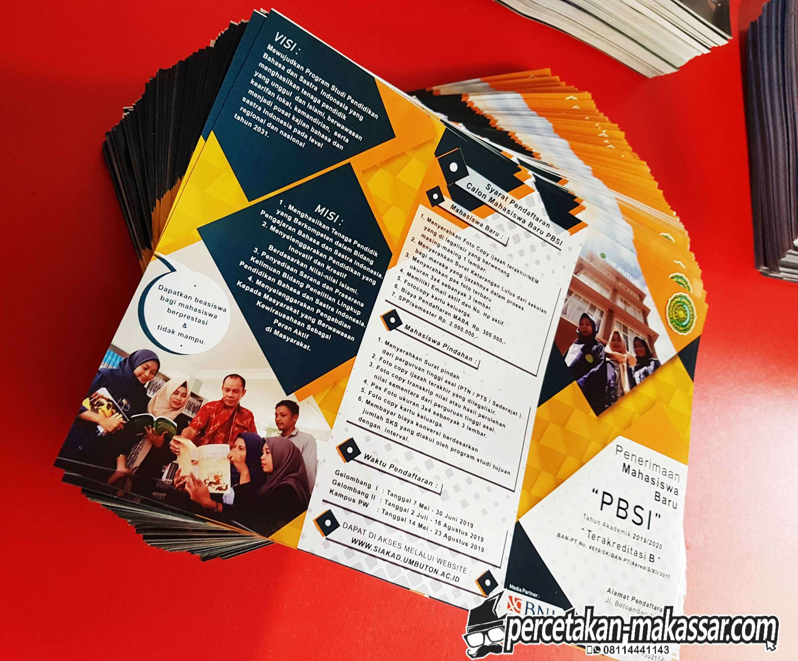 Cetak brosur kertas A4 Makassar